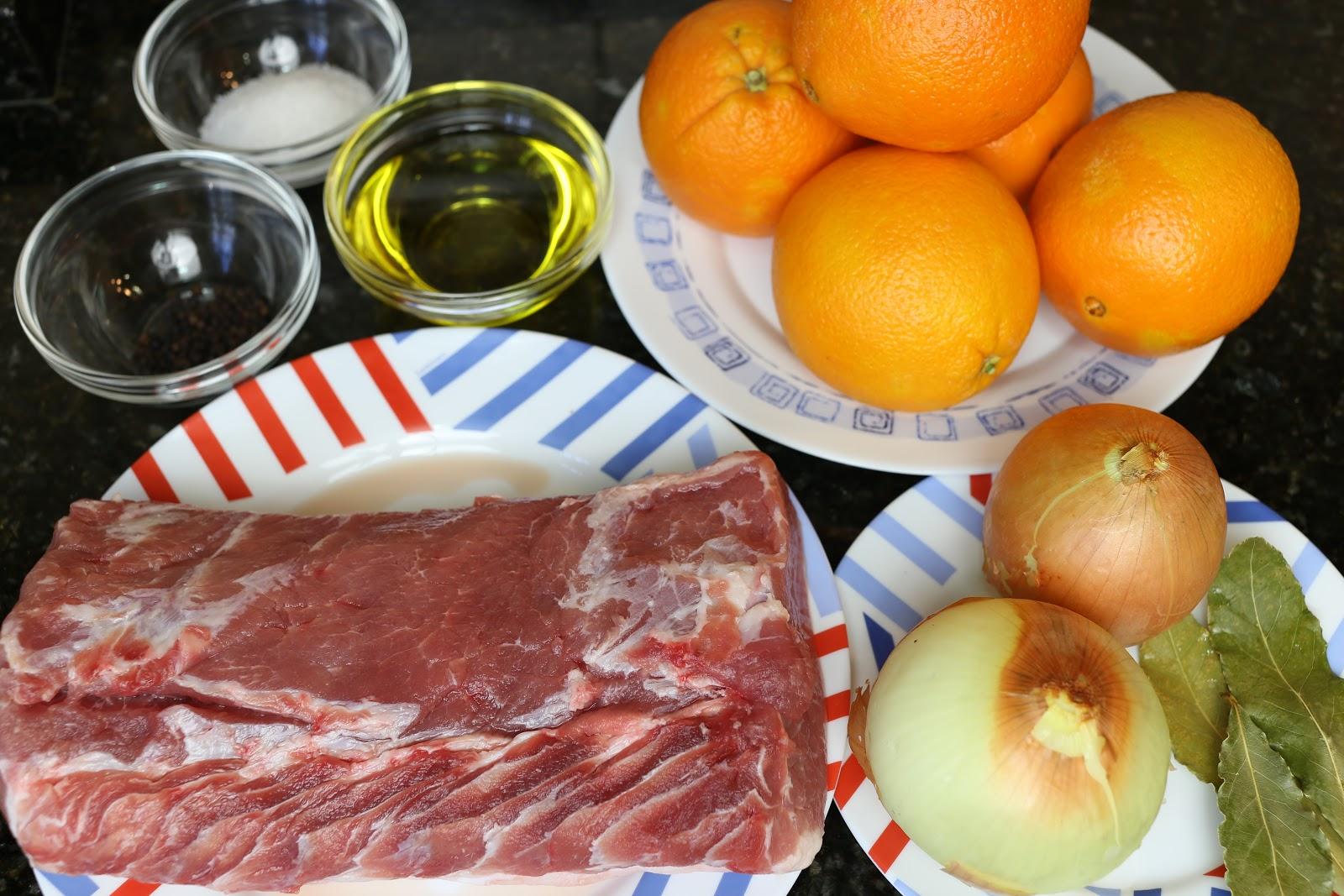ingredientes para preparar la receta de solomillo a la naranja