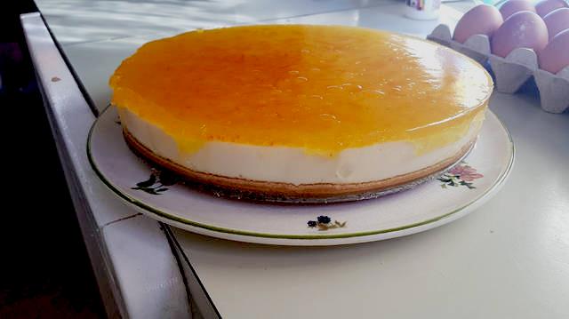 tarta cuajada con pomelo blanco