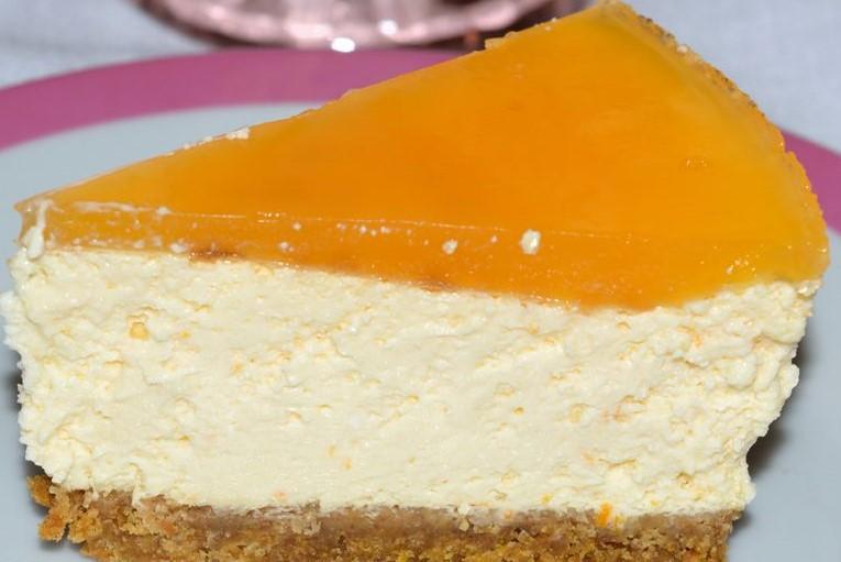 tarta de queso con mermelada de naranja amarga
